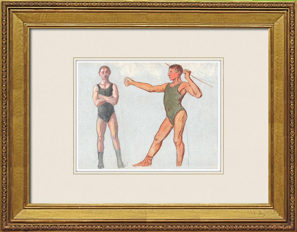 Gravures Anciennes & Dessins   Nu Masculin - Athlétisme - Sport   Aquarelle   1920