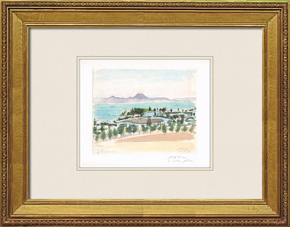 Gravures Anciennes & Dessins   Vue de Carthage - Les Ports Puniques (Tunisie)   Aquarelle   1973