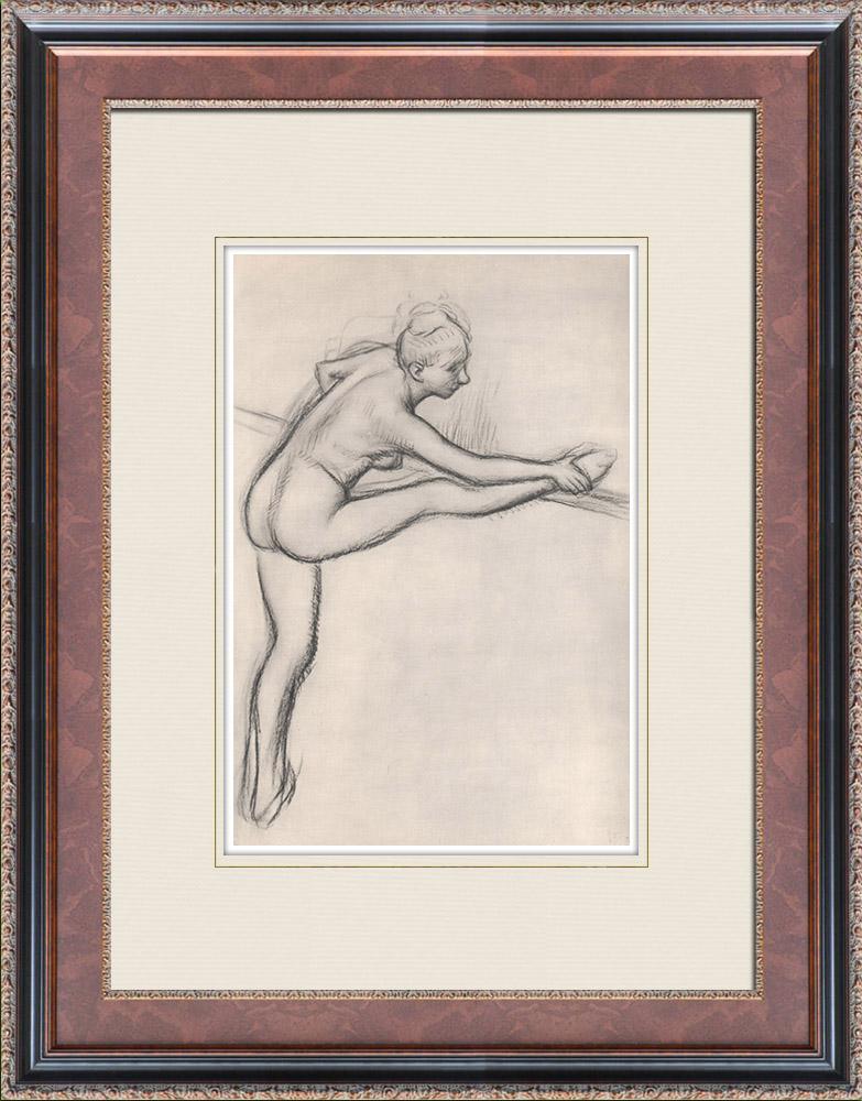 Gravures Anciennes & Dessins | Ballet - Danseuses - Danseuse à la Barre (Edgas Degas) | Héliogravure | 1933