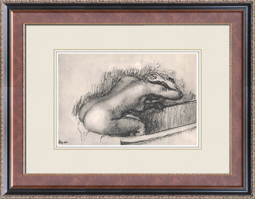Grabados & Dibujos Antiguos | Desnudo Femenino - La Baigneuse (Edgar Degas) | Heliograbado | 1933