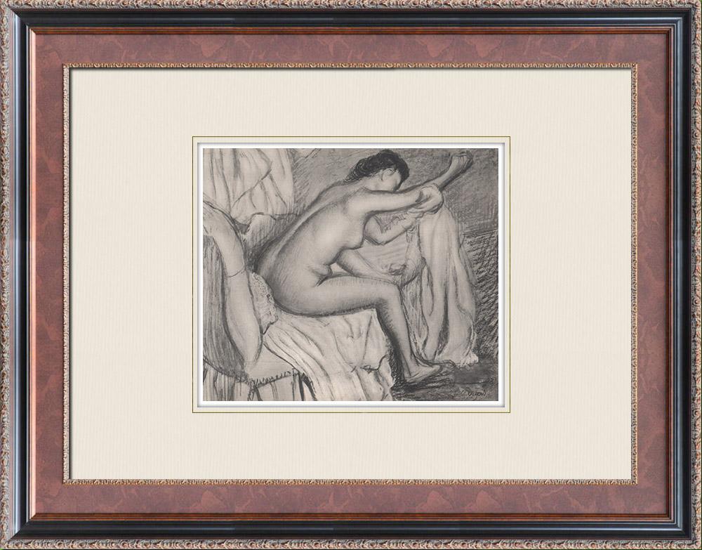 Grabados & Dibujos Antiguos | Desnudo Femenino - Femme s'Essuyant (Edgar Degas) | Heliograbado | 1933