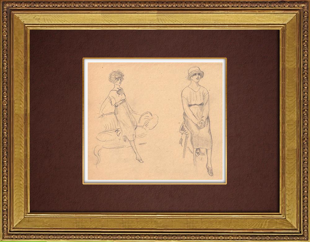 Gravures Anciennes & Dessins   Dessin de Mode - France - Années Folles 19/37   Dessin   1930