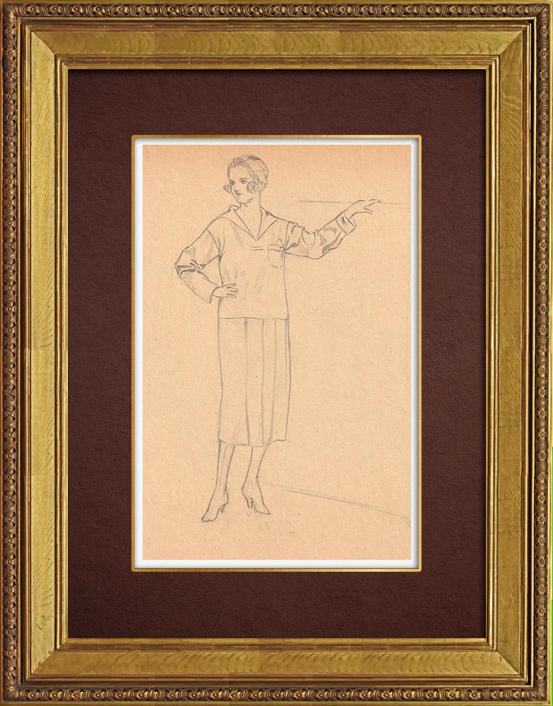 Gravures Anciennes & Dessins   Dessin de Mode - France - Années Folles 28/37   Dessin   1930