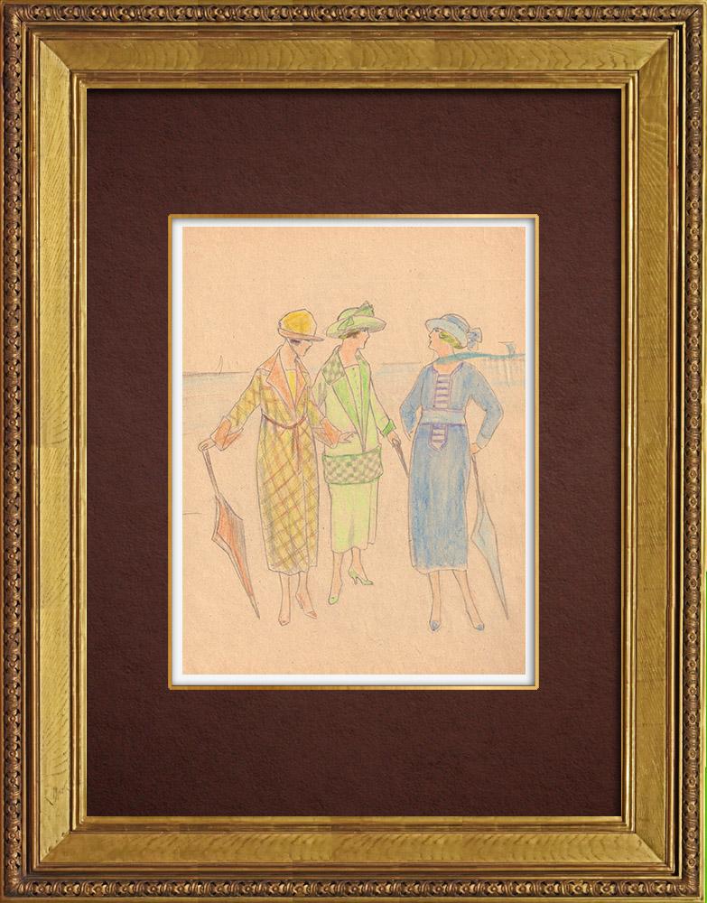 Gravures Anciennes & Dessins | Dessin de Mode - France - Années Folles 35/37 | Dessin | 1930