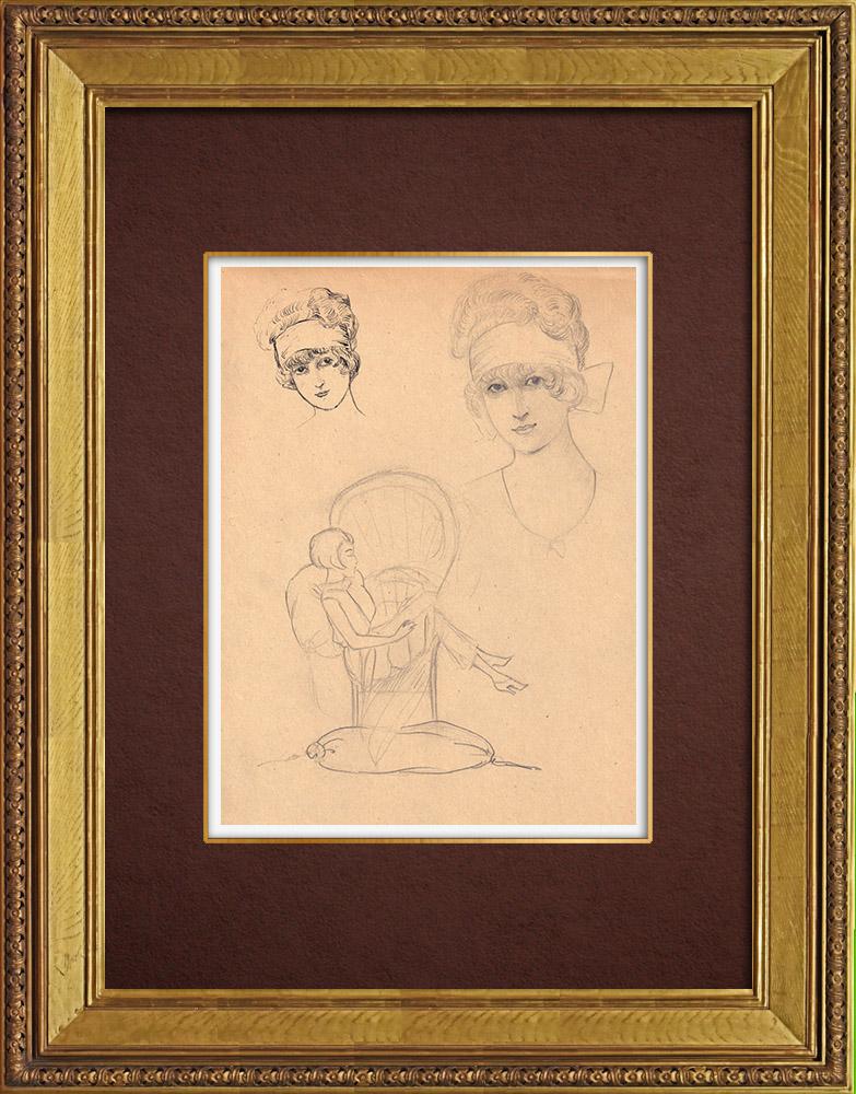 Gravures Anciennes & Dessins   Dessin de Mode - France - Années Folles 36/37   Dessin   1930
