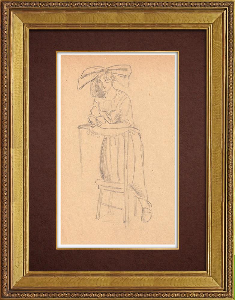 Gravures Anciennes & Dessins   Alsacienne en Prière - Alsace (France)   Dessin   1930