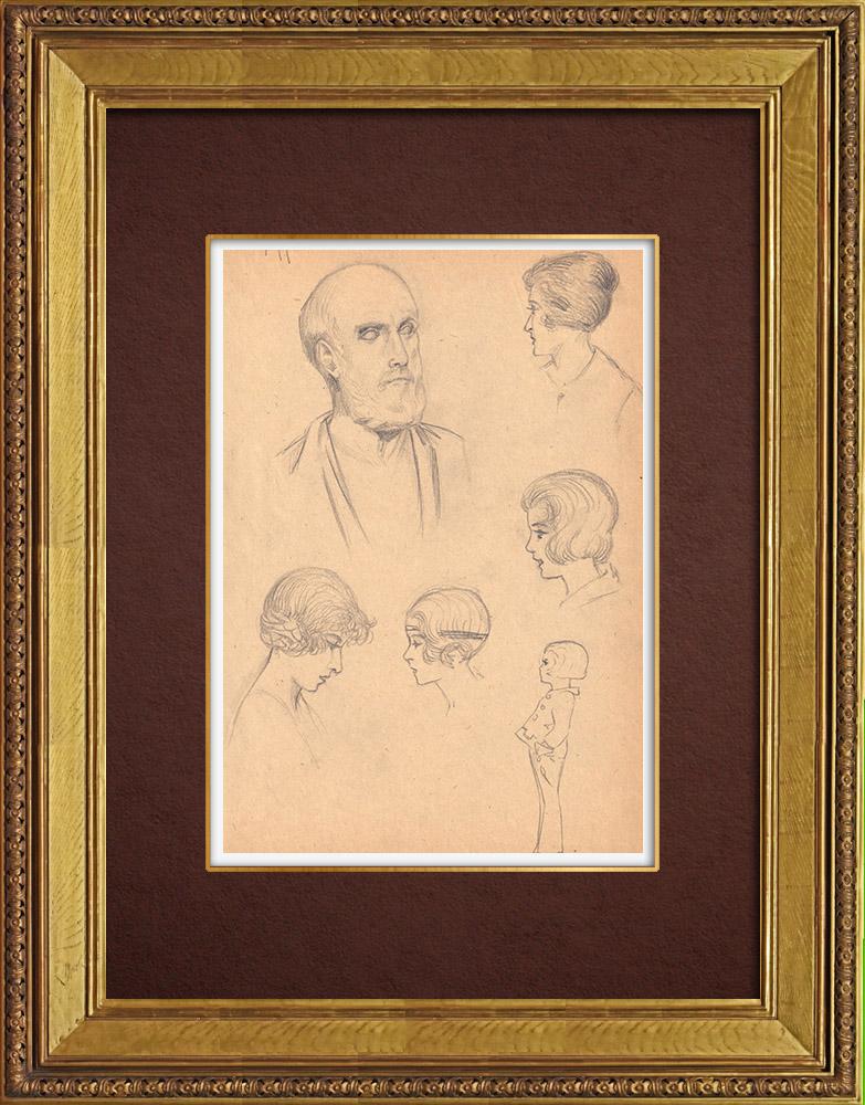 Gravures Anciennes & Dessins | Portrait d'Hippocrate | Dessin | 1930