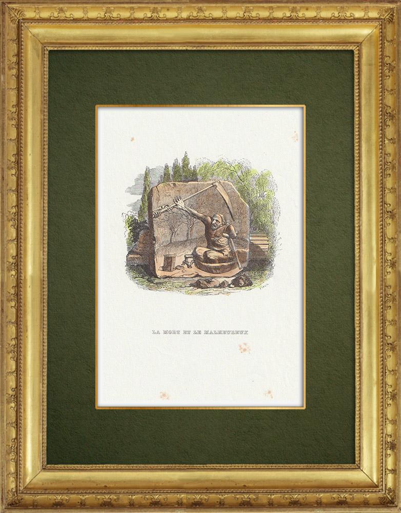 Gravures Anciennes & Dessins   Fables de La Fontaine - La Mort et le Bucheron   Gravure sur bois   1859