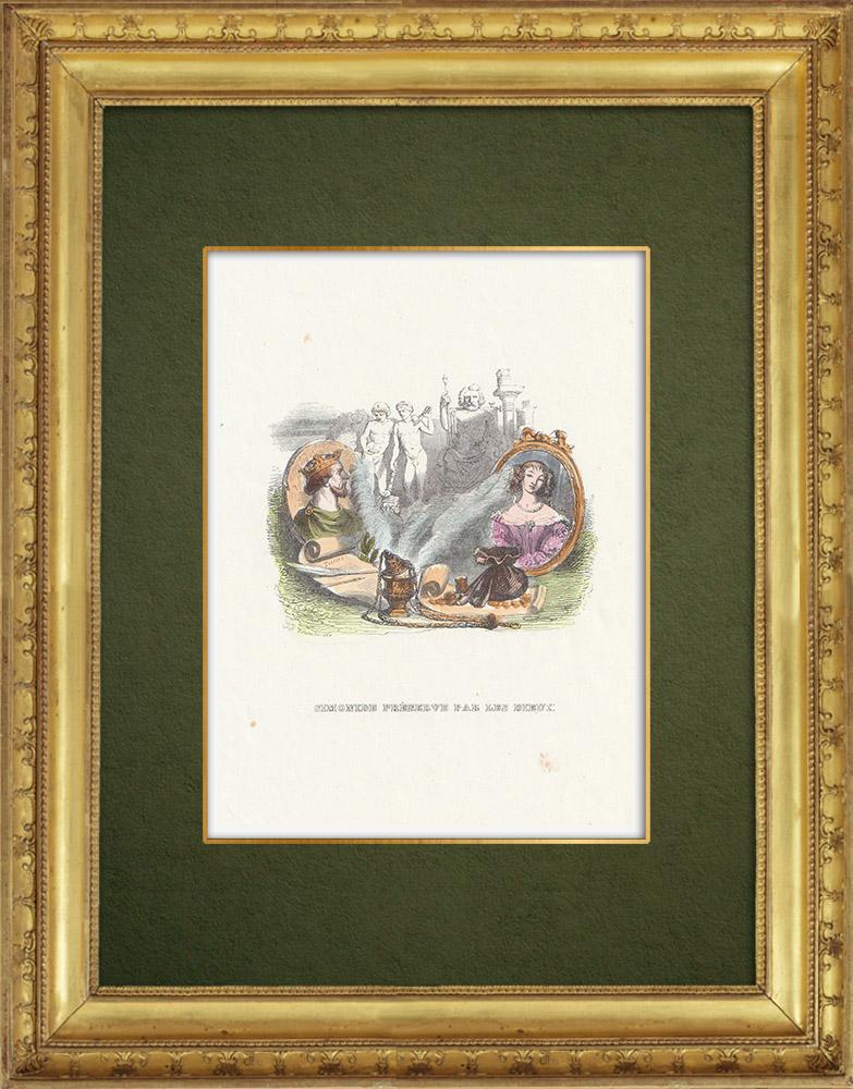 Gravures Anciennes & Dessins | Fables de La Fontaine - Simonide Préserve par les Dieux | Gravure sur bois | 1859