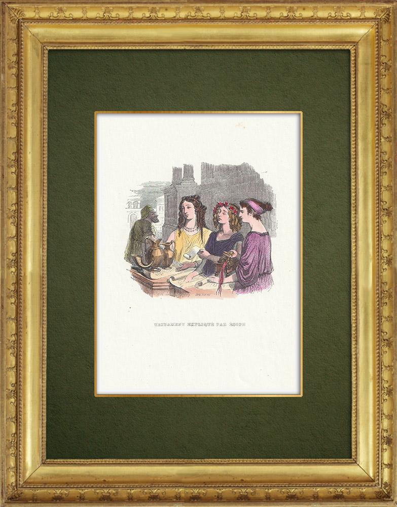 Gravures Anciennes & Dessins | Fables de La Fontaine - Testament Expliqué par Esope | Gravure sur bois | 1859