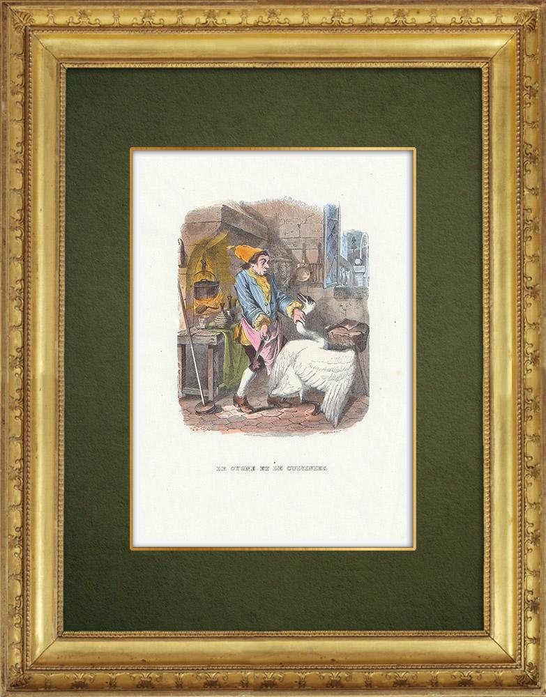 Gravures Anciennes & Dessins   Fables de La Fontaine - Le Cygne et le Cuisinier   Gravure sur bois   1859