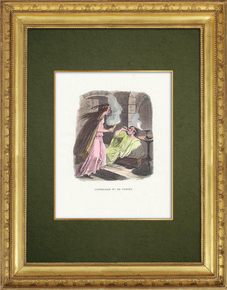 Gravures Anciennes & Dessins | Fables de La Fontaine - L'Ivrogne et sa Femme | Gravure sur bois | 1859