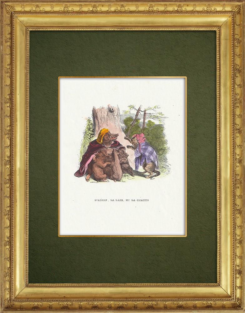 Gravures Anciennes & Dessins | Fables de La Fontaine - L'Aigle, la Laie et la Chatte | Gravure sur bois | 1859