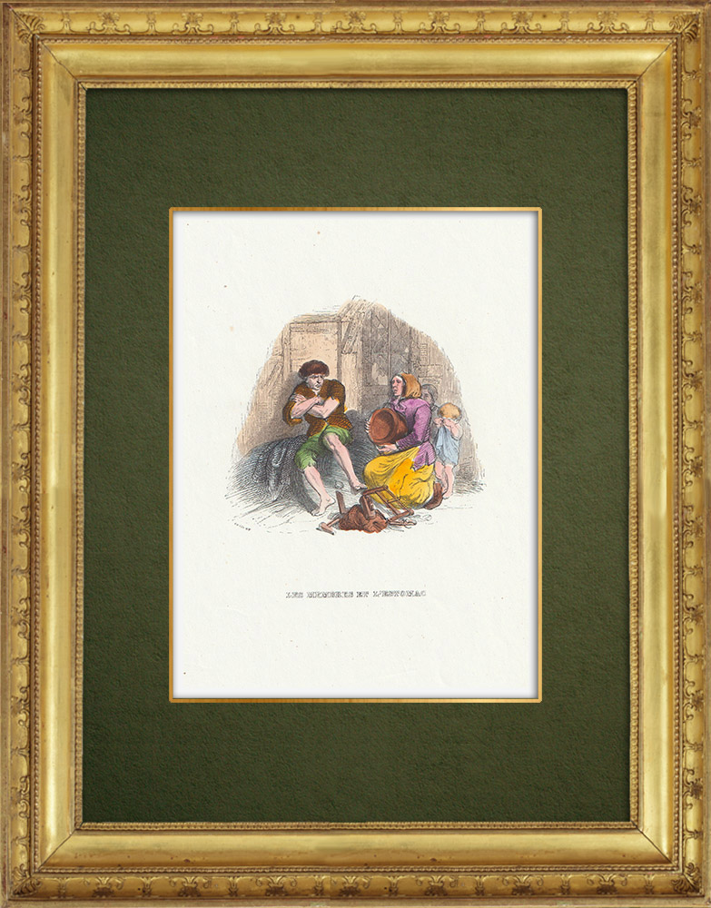 Gravures Anciennes & Dessins | Fables de La Fontaine - Les Membres et l'Estomac | Gravure sur bois | 1859