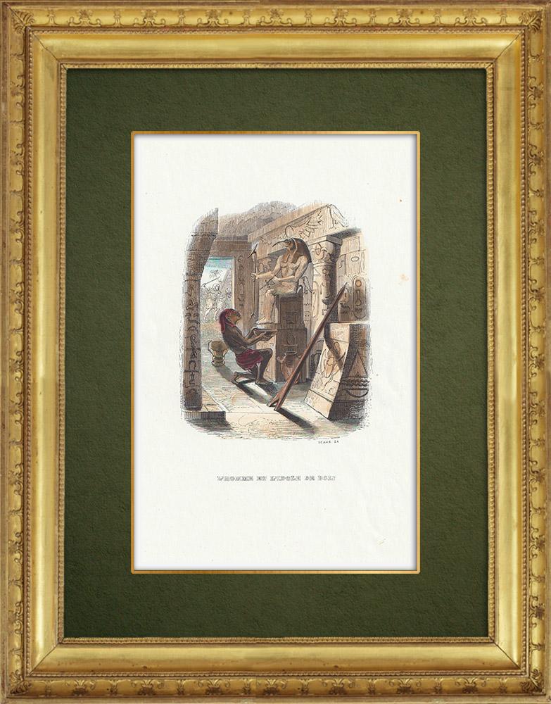 Gravures Anciennes & Dessins | Fables de La Fontaine - L'Homme et l'Idole de Bois | Gravure sur bois | 1859
