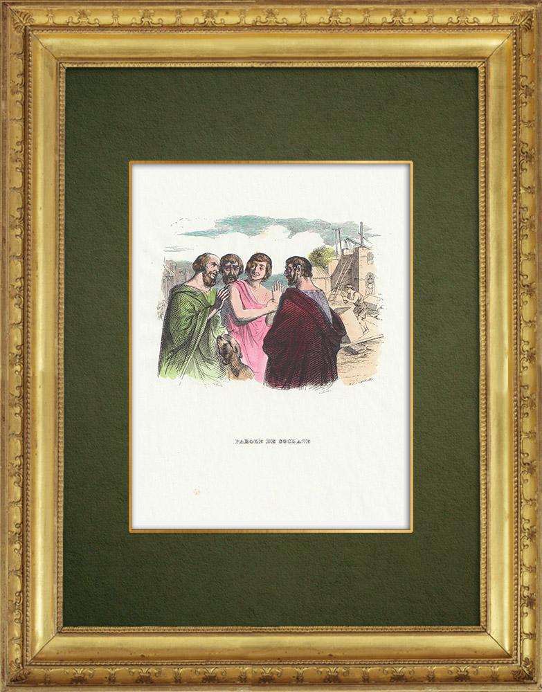 Gravures Anciennes & Dessins | Fables de La Fontaine - Parole de Socrate | Gravure sur bois | 1859