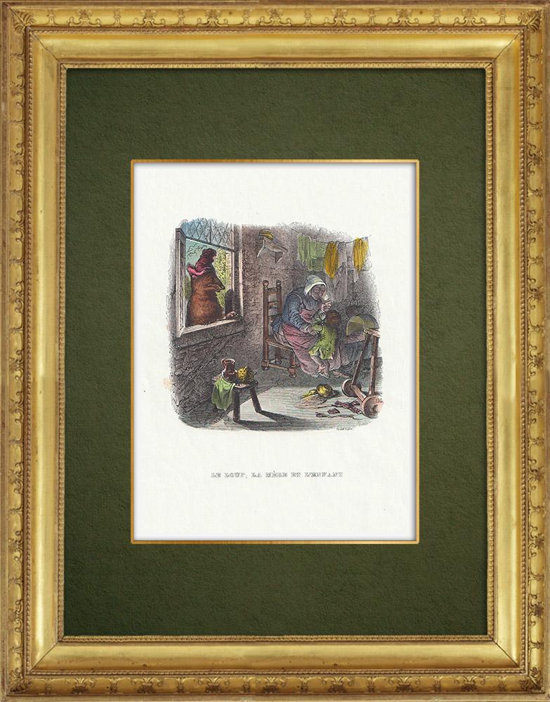 Gravures Anciennes & Dessins | Fables de La Fontaine - Le Loup, la Mère et l'Enfant | Gravure sur bois | 1859