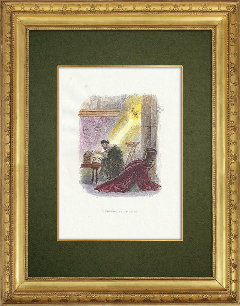 Gravures Anciennes & Dessins | Fables de La Fontaine - L'Oracle et l'Impie | Gravure sur bois | 1859