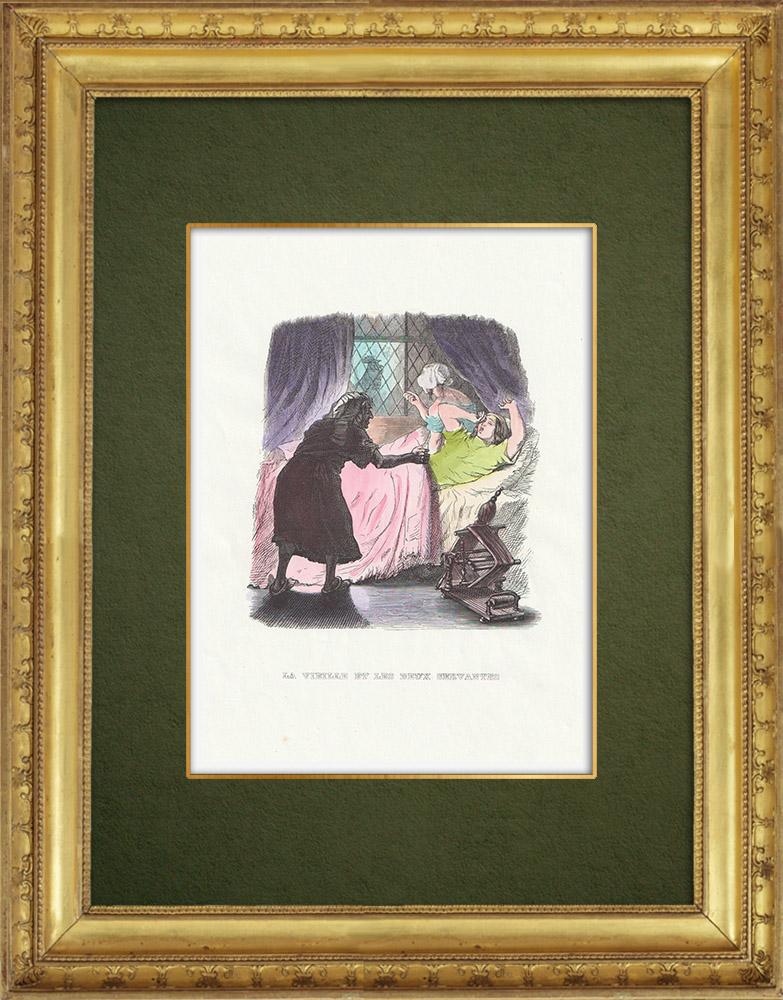 Gravures Anciennes & Dessins | Fables de La Fontaine - La Vieille et les Deux Servantes | Gravure sur bois | 1859