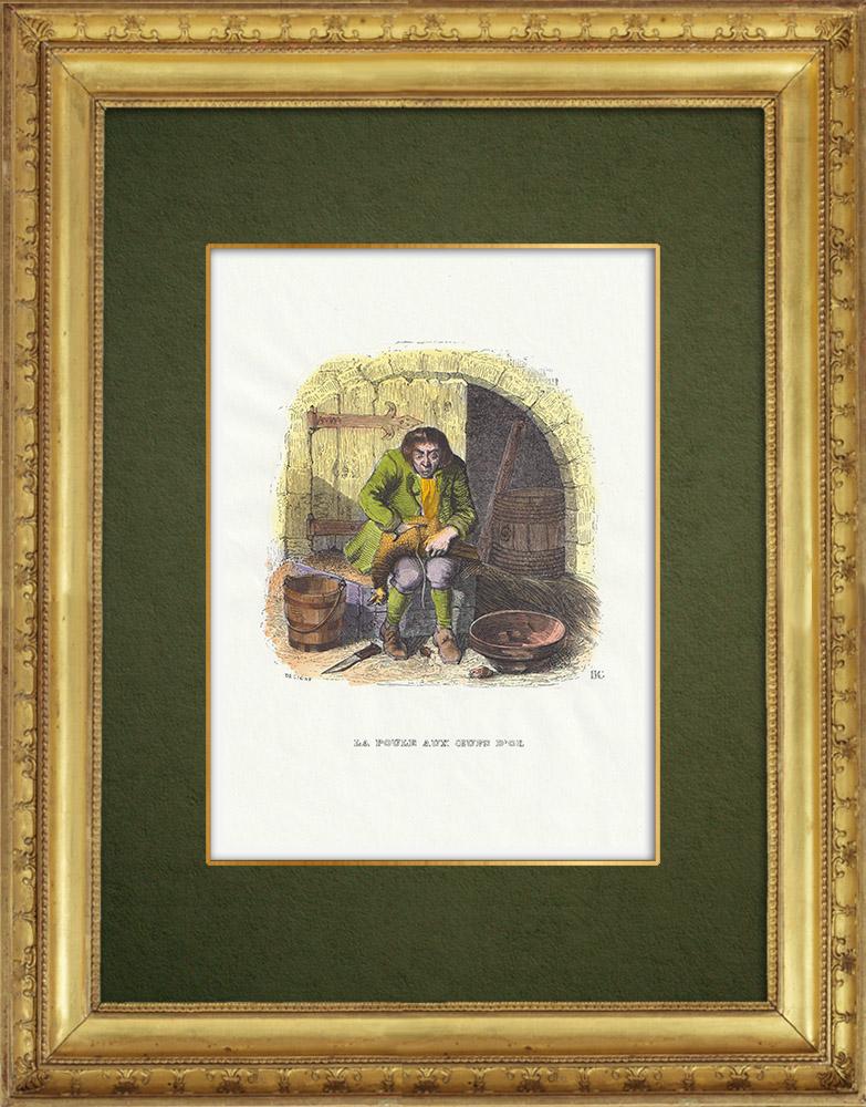 Gravures Anciennes & Dessins | Fables de La Fontaine - La Poule aux Oeufs d'Or | Gravure sur bois | 1859