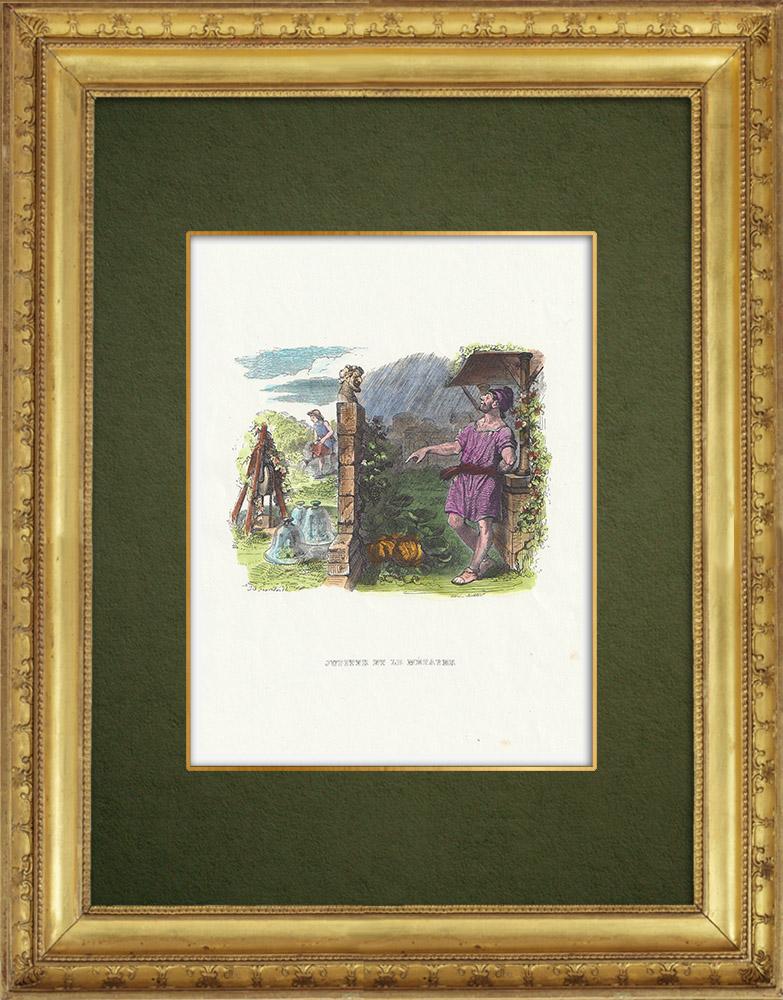 Gravures Anciennes & Dessins   Fables de La Fontaine - Jupiter et le Métayer   Gravure sur bois   1859
