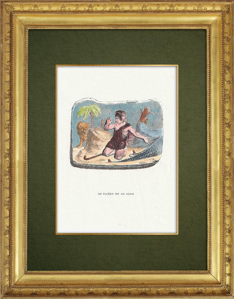 Gravures Anciennes & Dessins | Fables de La Fontaine - Le Patre et le Lion | Gravure sur bois | 1859