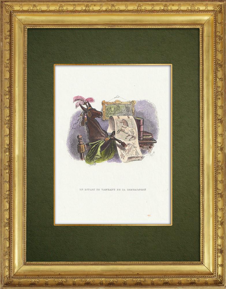 Gravures Anciennes & Dessins   Fables de La Fontaine - Le Mulet se Vantant de sa Généalogie   Gravure sur bois   1859