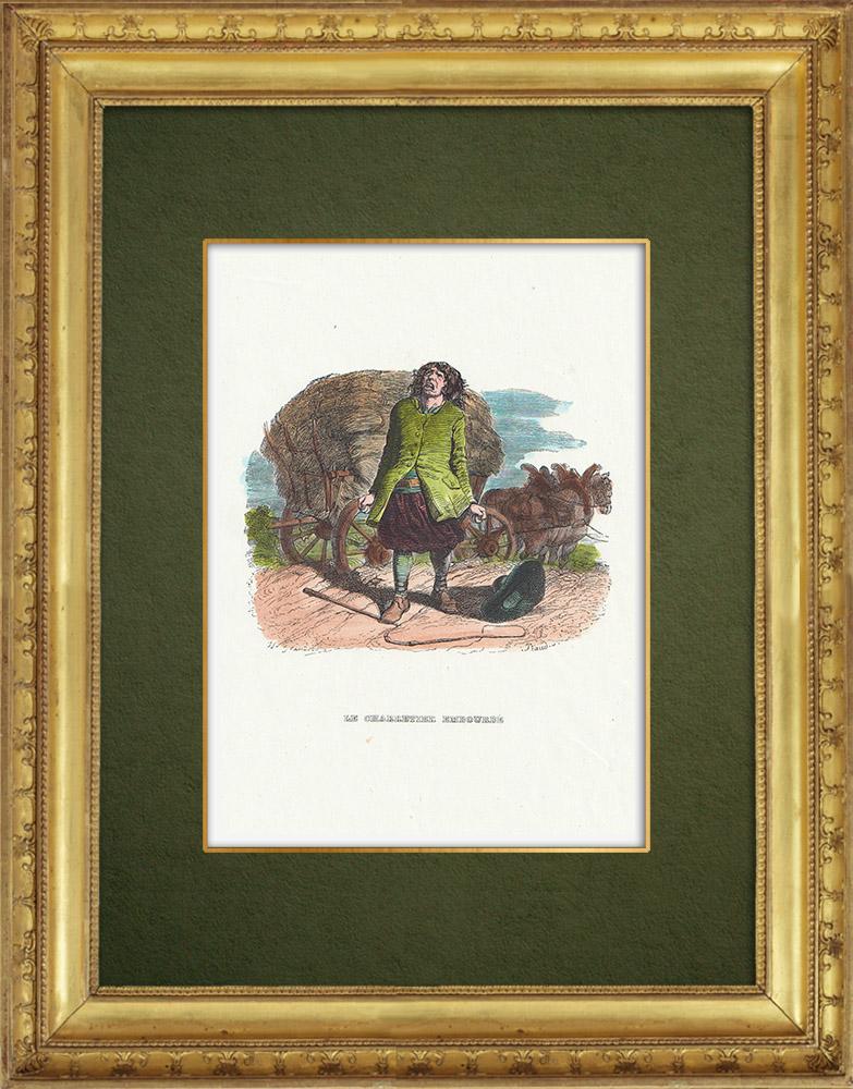 Gravures Anciennes & Dessins   Fables de La Fontaine - Le Charretier Embourbé   Gravure sur bois   1859