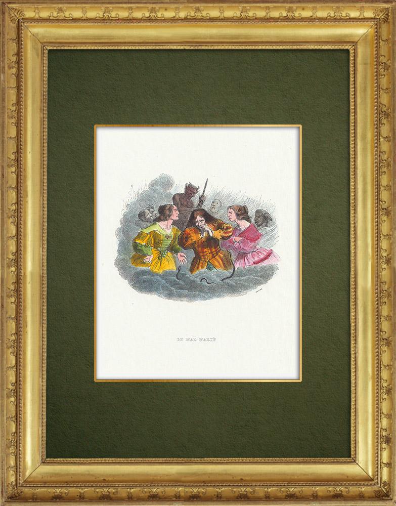 Gravures Anciennes & Dessins | Fables de La Fontaine - Le Mal Marié | Gravure sur bois | 1859