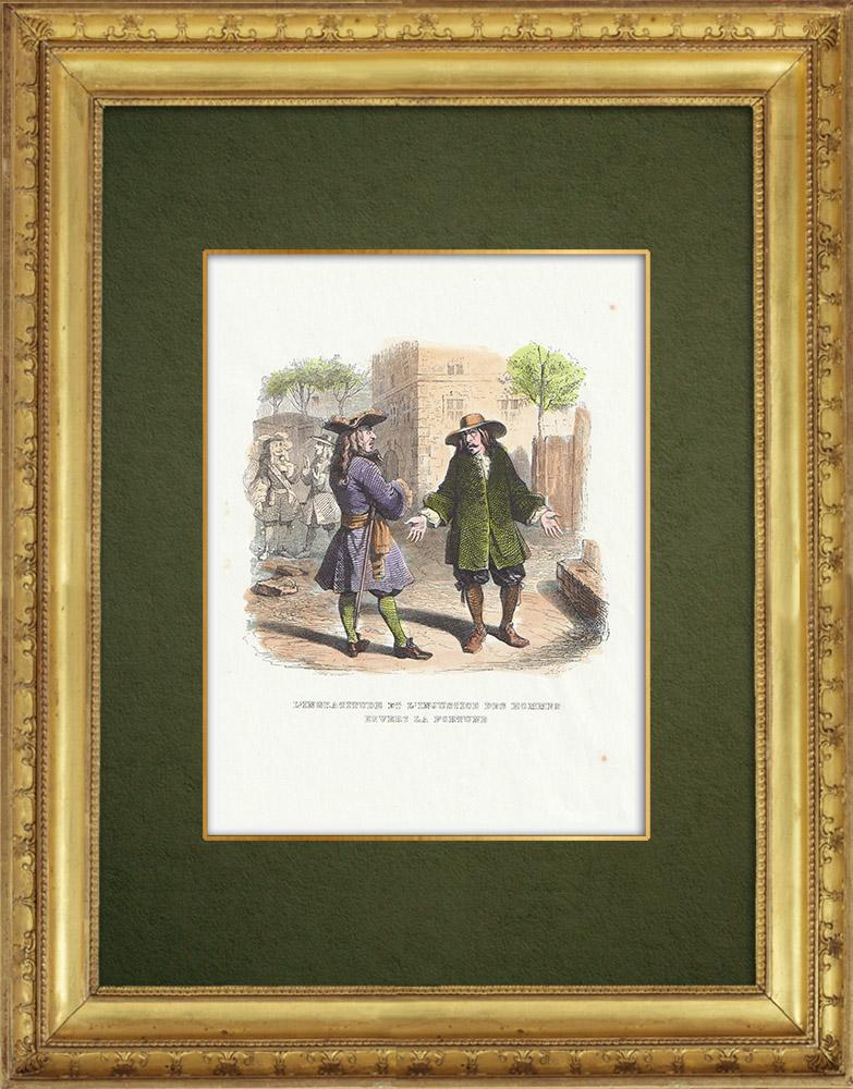 Gravures Anciennes & Dessins   Fables de La Fontaine - L'Ingratitude et l'Injustice des Hommes Envers la Fortune   Gravure sur bois   1859
