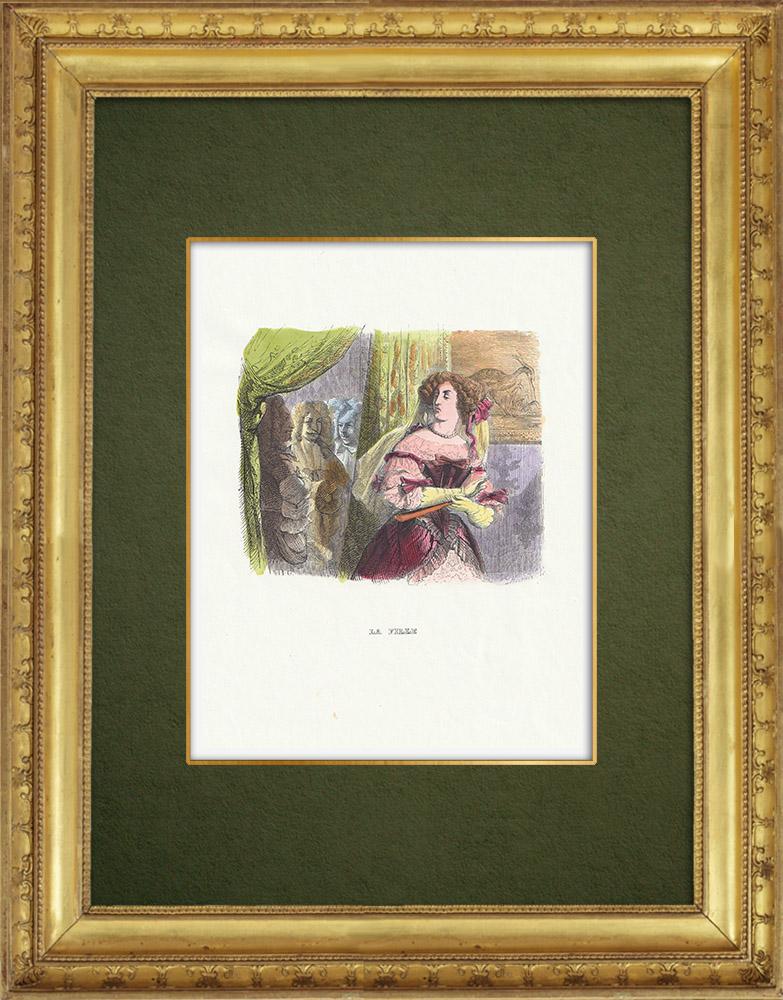 Gravures Anciennes & Dessins | Fables de La Fontaine - La Fille | Gravure sur bois | 1859