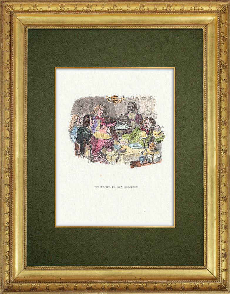 Gravures Anciennes & Dessins | Fables de La Fontaine - Le Rieur et les Poissons | Gravure sur bois | 1859