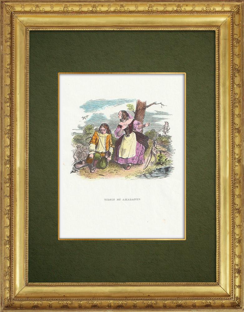 Gravures Anciennes & Dessins | Fables de La Fontaine - Tircis et Amarante | Gravure sur bois | 1859