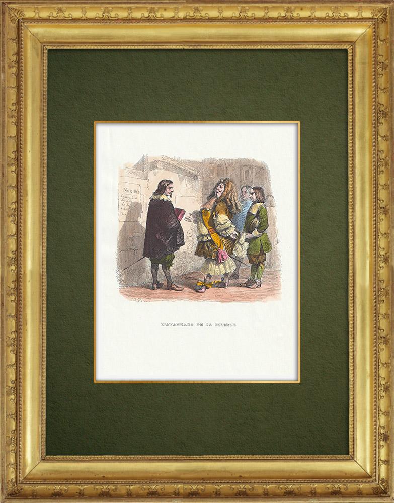 Gravures Anciennes & Dessins | Fables de La Fontaine - L'Avantage de la Science | Gravure sur bois | 1859