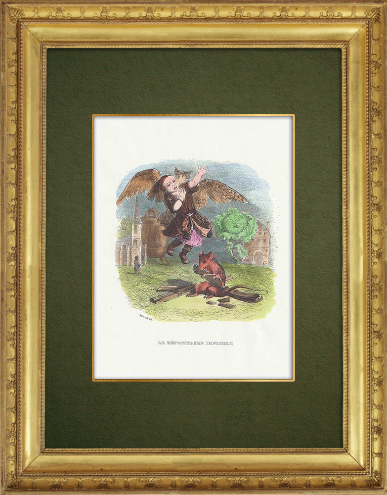 Gravures Anciennes & Dessins   Fables de La Fontaine - Le Dépositaire Infidèle   Gravure sur bois   1859