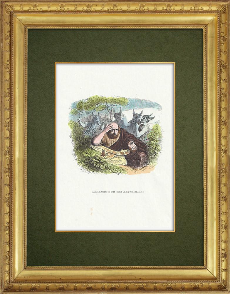 Gravures Anciennes & Dessins | Fables de La Fontaine - Démocrite et les Abderitains | Gravure sur bois | 1859