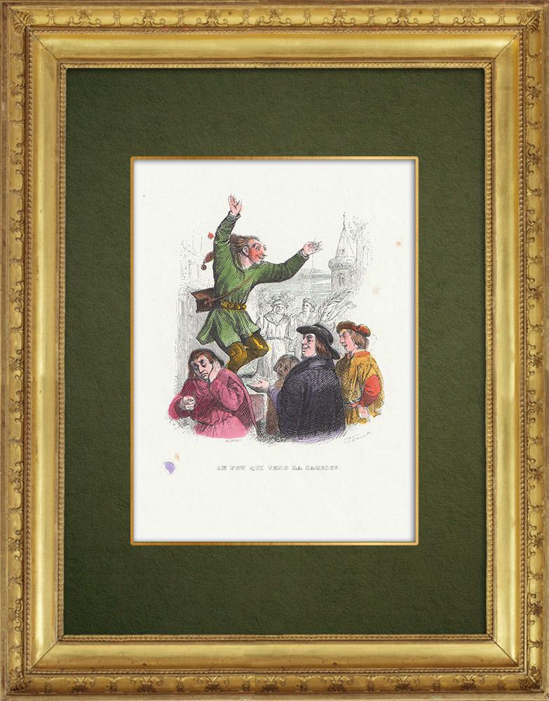 Gravures Anciennes & Dessins | Fables de La Fontaine - Le Fou Qui Vend la Sagesse | Gravure sur bois | 1859