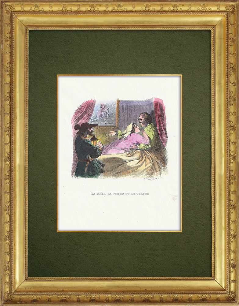 Gravures Anciennes & Dessins | Fables de La Fontaine - Le Mari, la Femme et le Voleur | Gravure sur bois | 1859