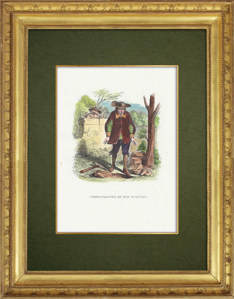Gravures Anciennes & Dessins   Fables de La Fontaine - L'Enfouisseur et son Compère   Gravure sur bois   1859