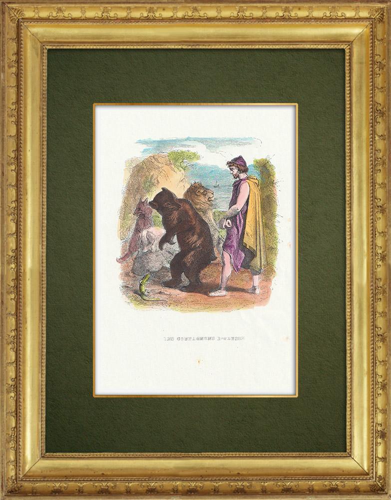 Gravures Anciennes & Dessins   Fables de La Fontaine - Les Compagnons d'Ulysse   Gravure sur bois   1859