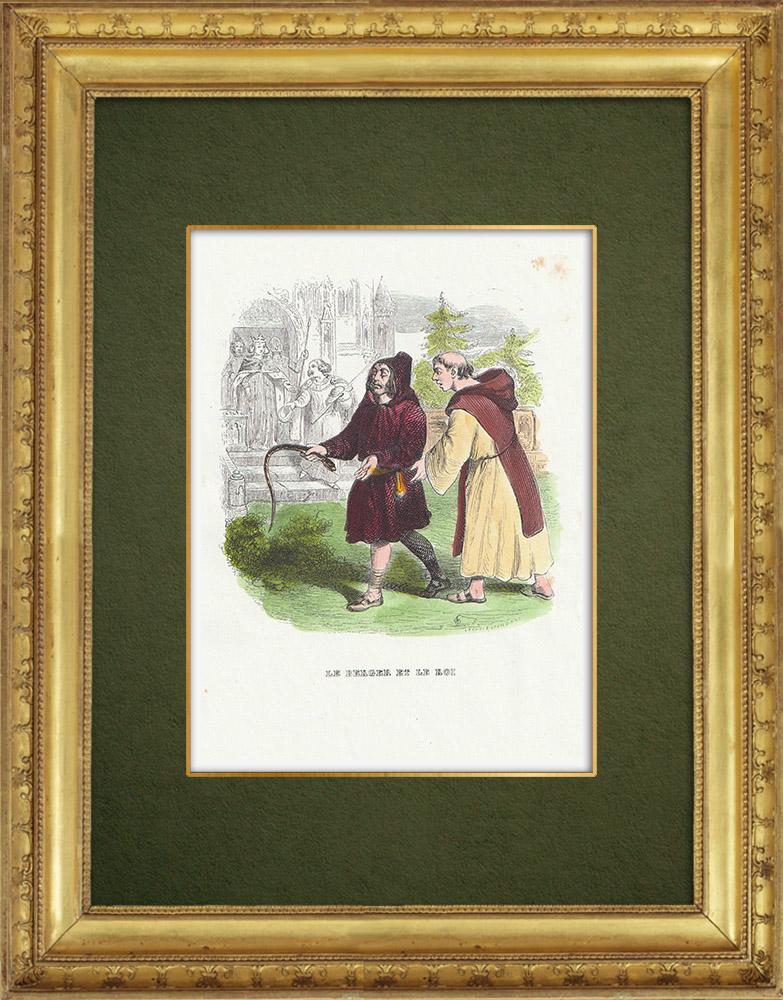 Gravures Anciennes & Dessins | Fables de La Fontaine - Le Berger et le Roi | Gravure sur bois | 1859