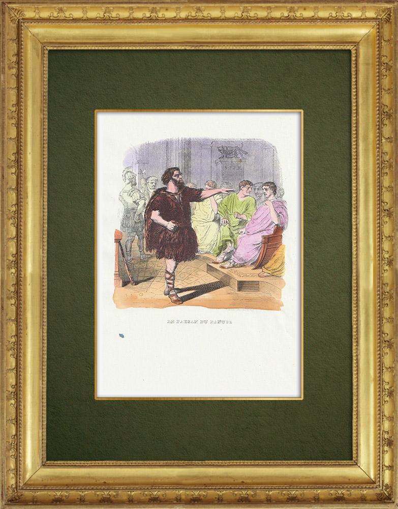 Gravures Anciennes & Dessins   Fables de La Fontaine - Le Paysan du Danube   Gravure sur bois   1859