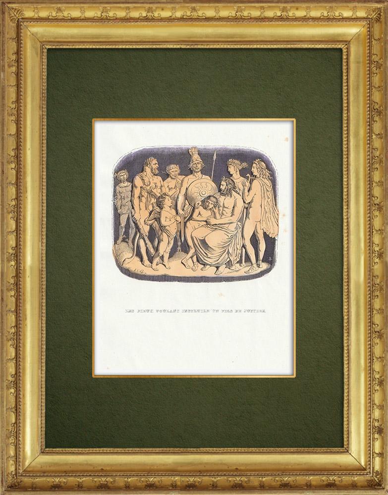 Gravures Anciennes & Dessins   Fables de La Fontaine - Les Dieux Voulant Instruire un Fils de Jupiter   Gravure sur bois   1859