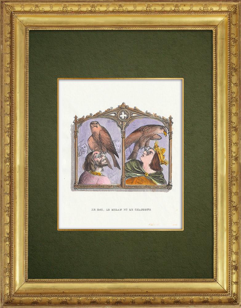Gravures Anciennes & Dessins | Fables de La Fontaine - Le Roi, le  Milan et le Chasseur | Gravure sur bois | 1859