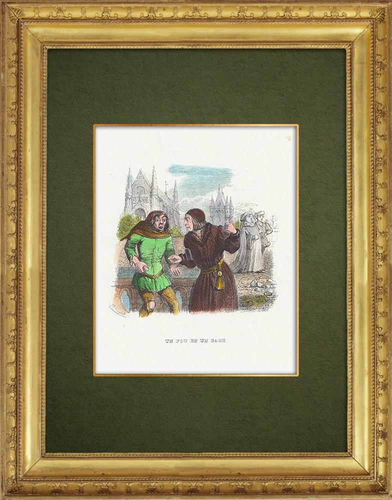 Gravures Anciennes & Dessins | Fables de La Fontaine - Un Fou et un Sage | Gravure sur bois | 1859