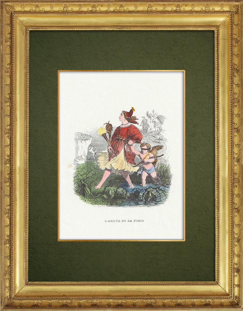 Gravures Anciennes & Dessins   Fables de La Fontaine - L'Amour et la Folie   Gravure sur bois   1859