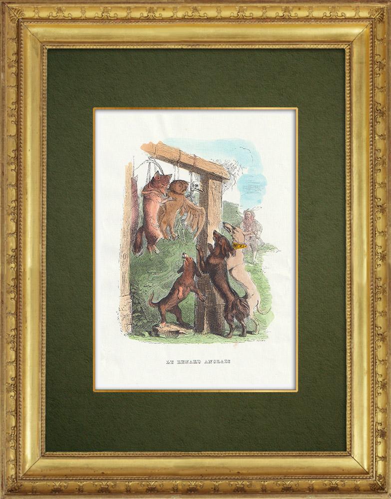 Gravures Anciennes & Dessins   Fables de La Fontaine - Le Renard Anglais   Gravure sur bois   1859