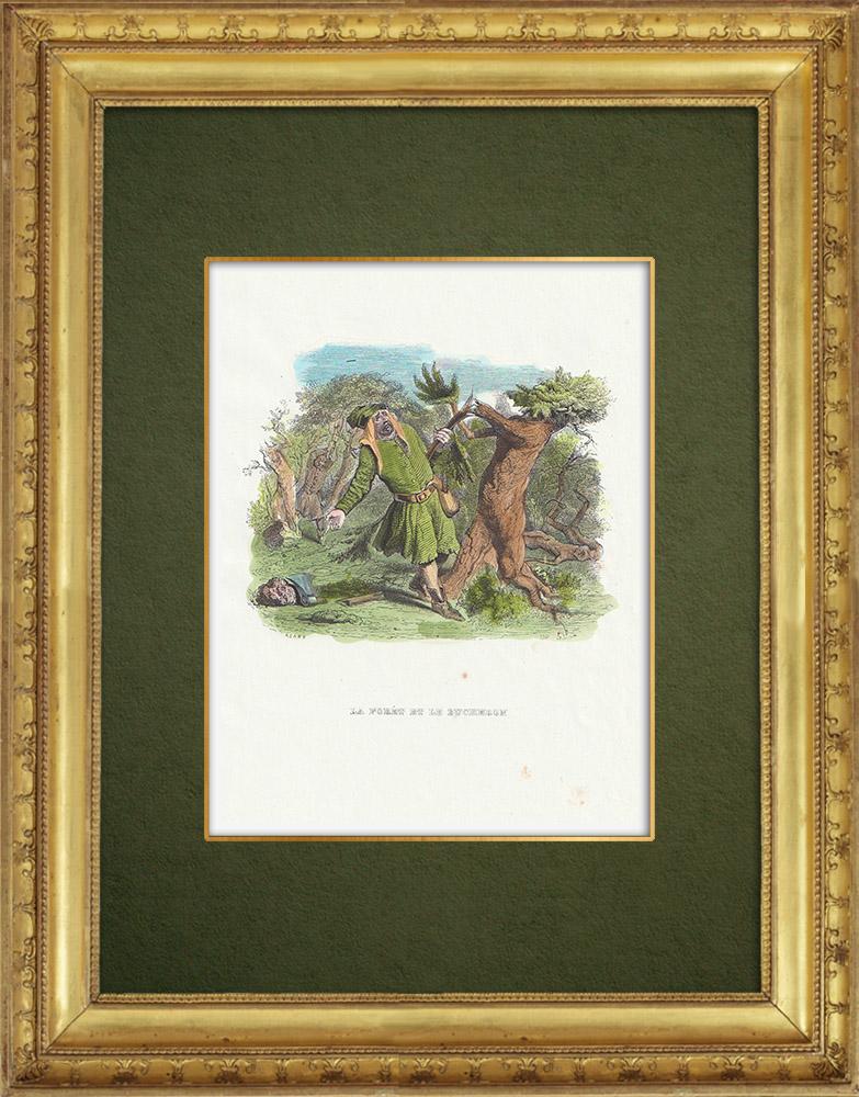 Gravures Anciennes & Dessins | Fables de La Fontaine - La Forêt et le Bucheron | Gravure sur bois | 1859