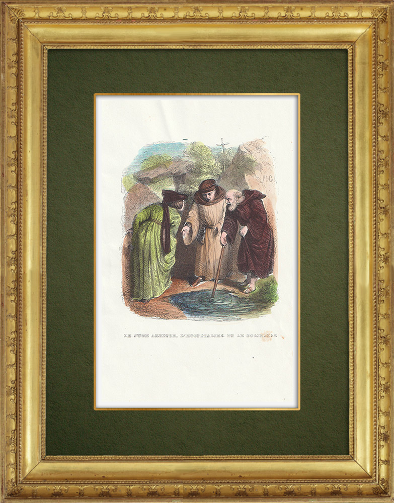 Gravures Anciennes & Dessins   Fables de La Fontaine - Le Juge Arbitre, l'Hospitalier et le Solitaire   Gravure sur bois   1859