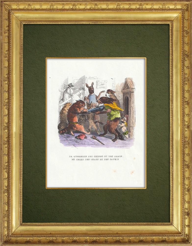 Gravures Anciennes & Dessins | Fables de La Fontaine - La Querelle des Chiens et des Chats et celle des Chats et des Souris | Gravure sur bois | 1859